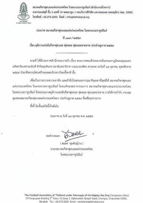 Vua bang ha, Thai Lan dung moi hoat dong bong da het nam 2016 - Anh 1
