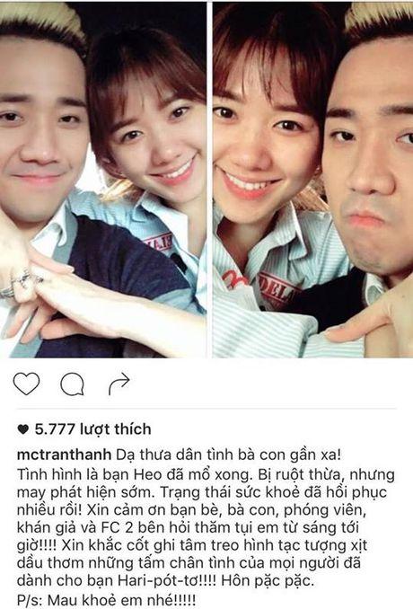 Tran Thanh cap nhat tinh hinh Hari Won mo ruot thua - Anh 1