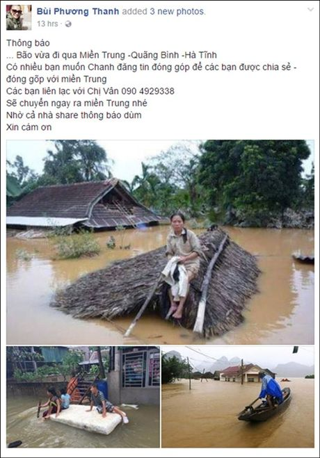 Phuong Thanh, Tuan Hung, Pham Huong... cam thuong, keu goi giup do dong bao mien Trung - Anh 4