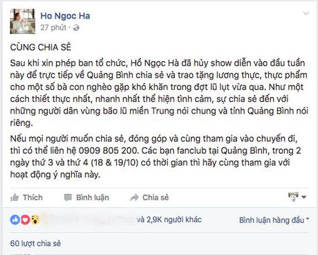 Ly do thuc su khien Ho Ngoc Ha phai huy show dien - Anh 1