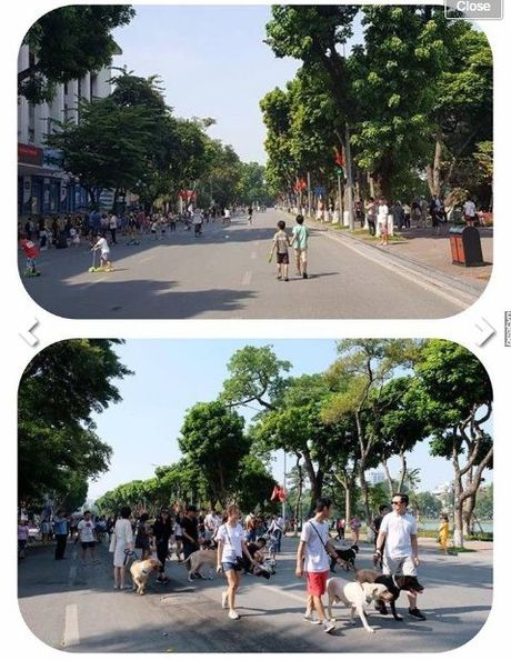 Doan cho du khong ro mom 'dieu hanh' tren pho di bo Ho Guom gay tranh cai - Anh 4