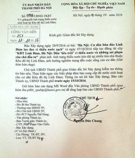 Chu tich TP Ha Noi yeu cau xu ly tinh trang thieu nuoc sinh hoat tai KDT Linh Dam - Anh 1