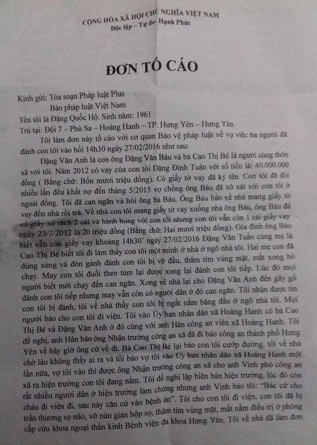 Hung Yen: Nhieu uan khuc xung quanh viec tam dinh chi 1 vu an 'Co y gay thuong tich' - Anh 1