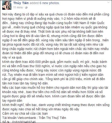 Thuy Tien cong khai so tien ung ho 'khung', chi kem moi Phan Anh - Anh 2
