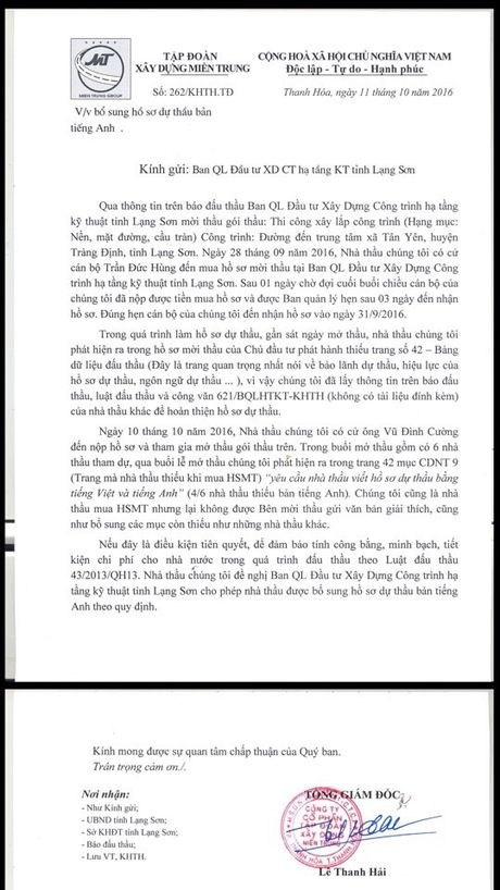 BQL DTXD cong trinh ha tang ky thuat tinh Lang Son: Co tinh rut ruot ho so de loai nha thau? - Anh 6