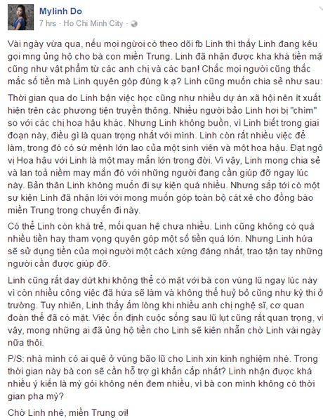 Hoa hau My Linh day dut vi chua the ve mien Trung cuu tro - Anh 1