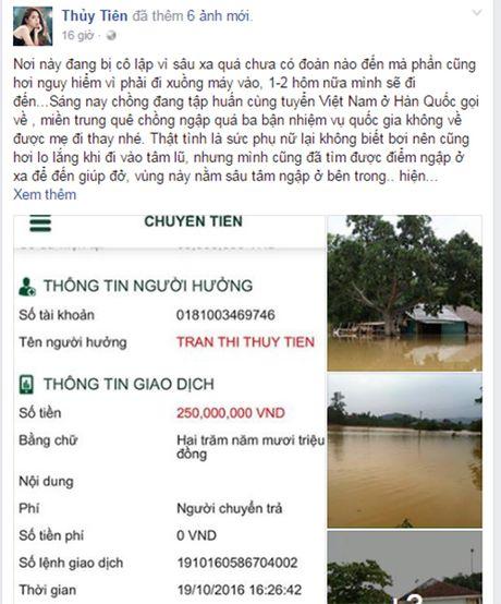 Thuy Tien - Cong Vinh ung ho dong bao mien Trung 250 trieu - Anh 2