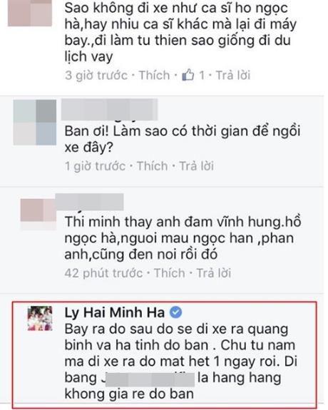 Vo ca si Ly Hai dap tra khi bi che khong bang Ha Ho vi di cuu tro bang may bay - Anh 4