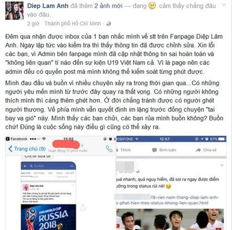 Diep Lam Anh giai thich su co chuc mung U19 Viet Nam nham giai dau - Anh 2