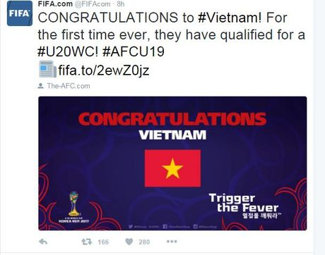 FIFA chuc mung U19 Viet Nam lan dau du World Cup U20 - Anh 1