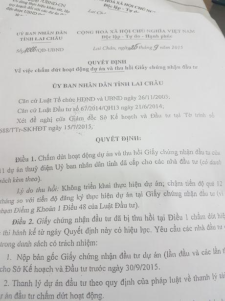 Lai Chau: Dang sau viec rut giay phep dau tu 11 thuy dien - Anh 1