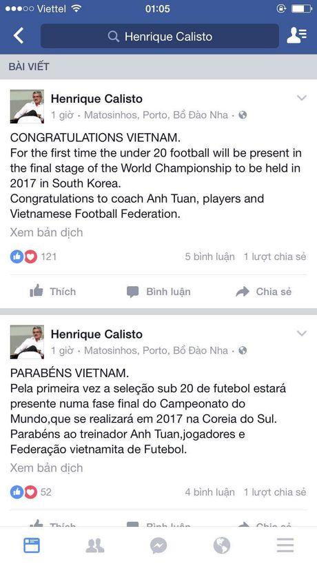 HLV Calisto chuc mung chien tich cua U19 Viet Nam - Anh 1