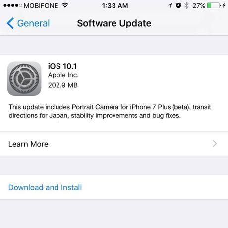 iOS 10.1 ra mat, cai thien chup anh cho iPhone 7 Plus - Anh 1