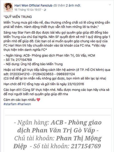 Nhiet tinh keu goi giup do dong bao mien Trung: Day la dieu cac fan khien than tuong tu hao! - Anh 10