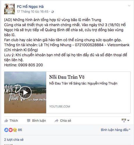 Nhiet tinh keu goi giup do dong bao mien Trung: Day la dieu cac fan khien than tuong tu hao! - Anh 1