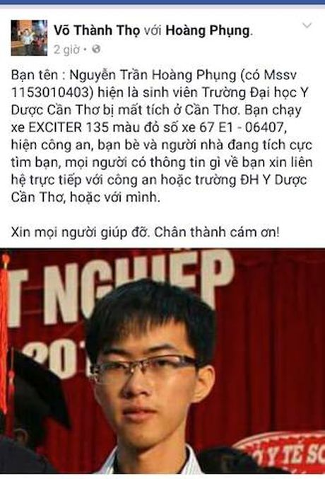 Nam sinh vien mat tich cung xe Exciter mau do - Anh 1