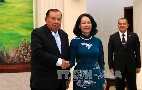 Tong Bi thu, Chu tich nuoc Lao tiep doan cap cao Dang ta - Anh 1