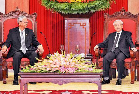 Lanh dao Dang, Nha nuoc tiep, hoi dam voi Tong thong Myanmar - Anh 1