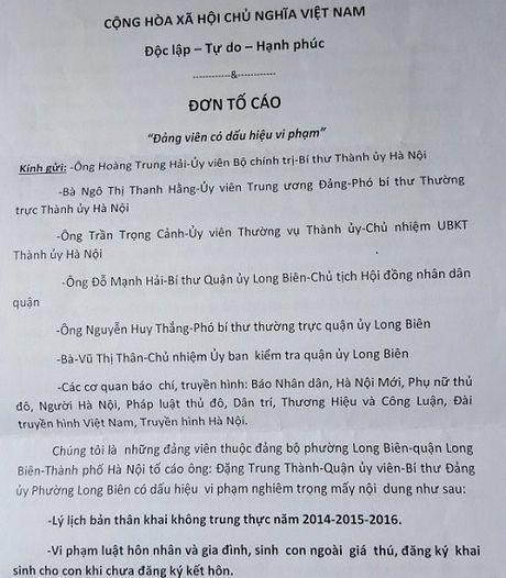 Bi thu Dang uy phuong Long Bien: Bi to 'co dau hieu vi pham phap luat' - Anh 1
