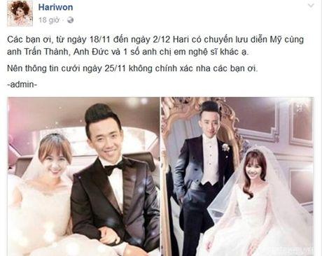 Quan ly bac tin don Hari Won - Tran Thanh cuoi vao 25/11 - Anh 1