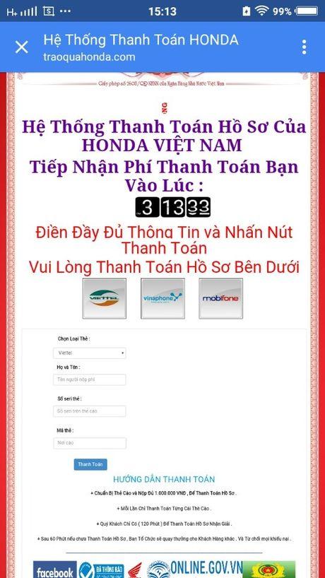 Lien tuc khach hang bi web gia mao Honda Viet Nam lua trung thuong - Anh 2