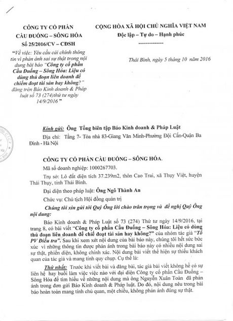 Phan hoi bai viet cua Cong ty Co phan Cau Duong – Song Hoa - Anh 1