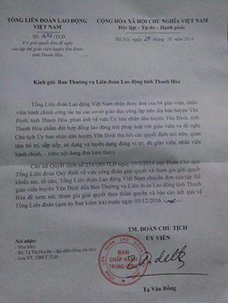 Tiep bai, Hang nghin giao vien 'bong dung' mat viec tai Thanh Hoa: Tong Lien doan Lao dong Viet Nam de nghi giai quyet vu viec - Anh 1