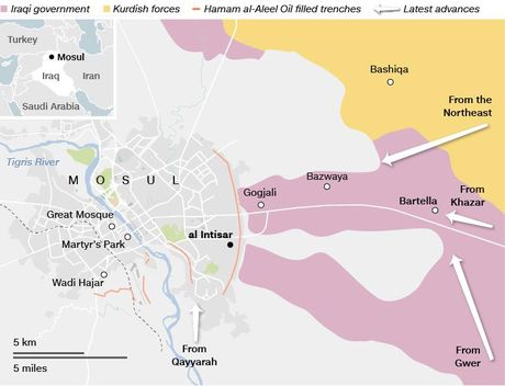 Quan Iraq giao tranh IS tren duong pho Mosul - Anh 1
