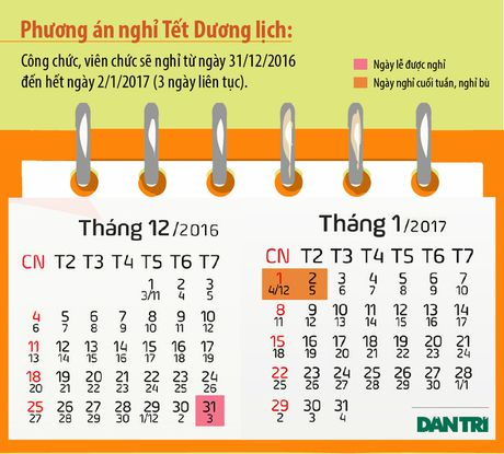 Da co phuong an nghi Le va Tet Duong lich nam 2017 - Anh 1