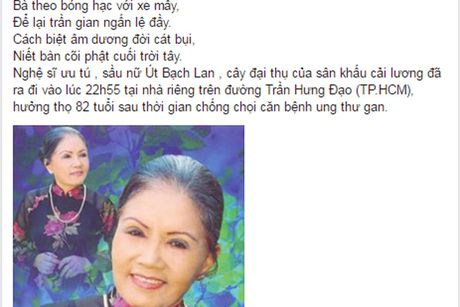 Nghe si Viet tiec thuong 'sau nu' Ut Bach Lan qua doi - Anh 9
