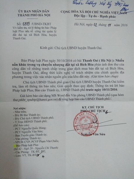 UBND Thanh pho Ha Noi chi dao huyen Thanh Oai lam ro uan khuc trong viec chuyen nhuong dat - Anh 1