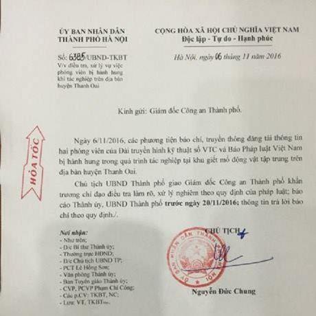 Chu tich Nguyen Duc Chung giao CATP Ha Noi dieu tra, lam ro vu hanh hung phong vien tai lo mo - Anh 1