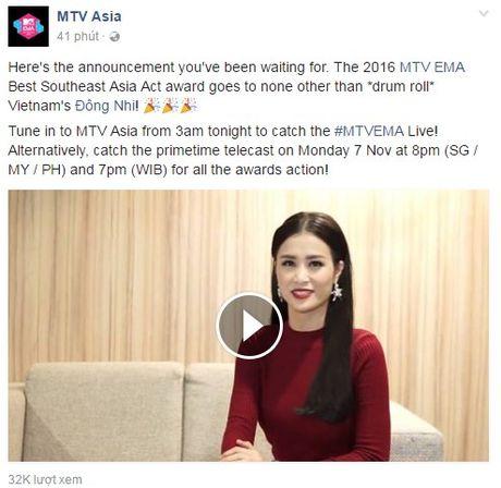 Hot: Dong Nhi chien thang giai Nghe si Dong Nam A xuat sac nhat EMA 2016 - Anh 1