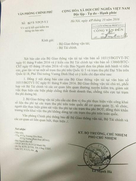 Pho Thu tuong chi dao giam sat chong tieu cuc tram thu phi BOT - Anh 1