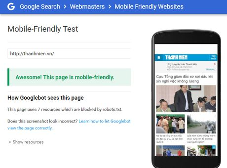 Google uu tien xep hang trang web co phien ban di dong - Anh 1