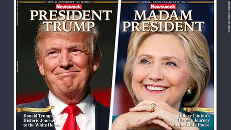 Newsweek in san bia ca Hillary Clinton lan Donald Trump thang cu - Anh 1