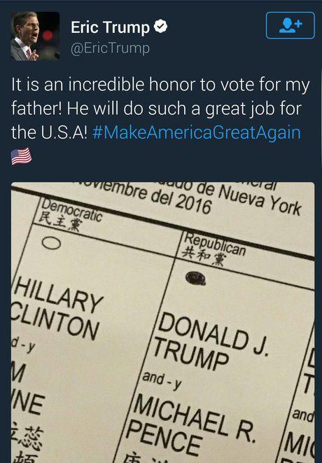 Khoe phieu bau tren mang xa hoi, con trai Donald Trump co the bi tu - Anh 2