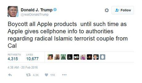 Ong Donald Trump tung 'tweet' nhung gi ve iPhone? - Anh 1