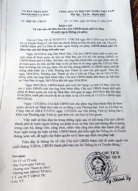 Ca Mau: Khong co chuyen Chu tich TP di nuoc ngoai khong xin phep - Anh 1