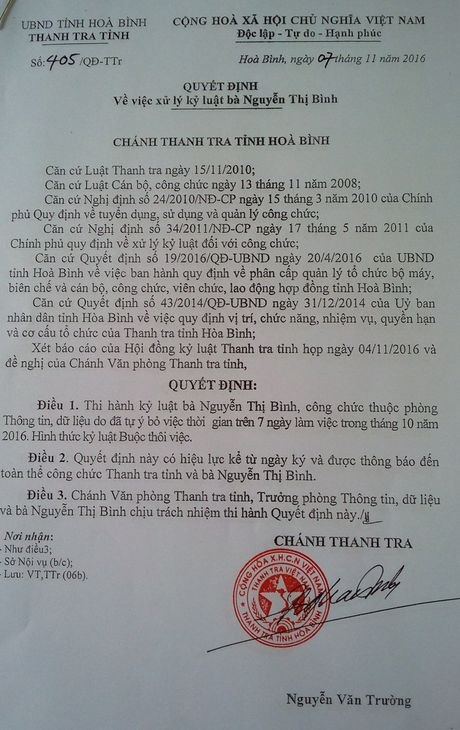 Duoi viec nu can bo Thanh tra tinh lua 'chay viec' - Anh 2