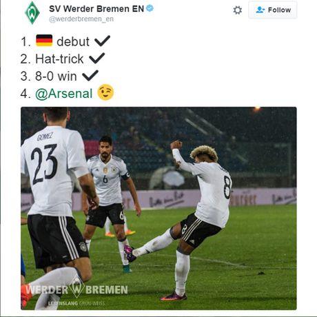 Arsenal dap tra ngoan muc loi che gieu cua Werder Bremen ve 'nguoi cu' Gnabry - Anh 1
