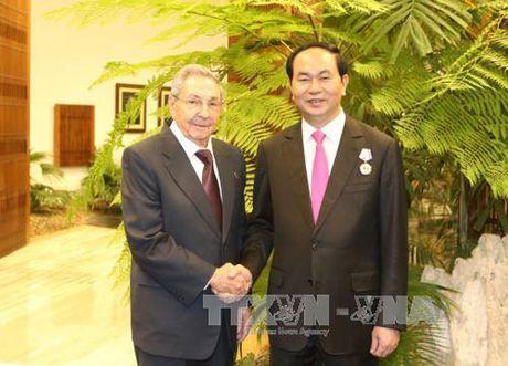 Chu tich Cuba Raul Castro don va hoi dam voi Chu tich nuoc Tran Dai Quang - Anh 1