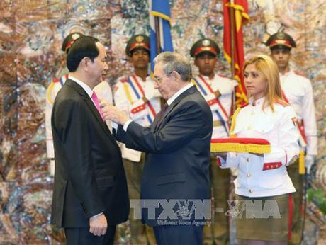 Chu tich Cuba Raul Castro don va hoi dam voi Chu tich nuoc Tran Dai Quang - Anh 4