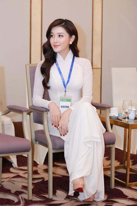 A hau Huyen My dien ao dai trang don tiep Hoang tu Anh - Anh 2