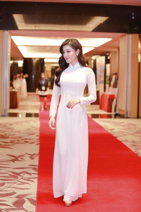 A hau Huyen My dien ao dai trang don tiep Hoang tu Anh - Anh 3