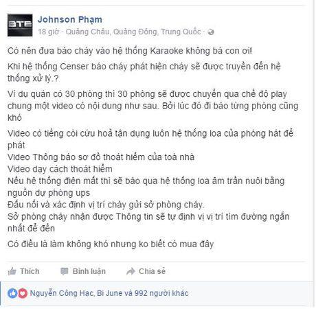 Y tuong doc dao: Tich hop he thong bao chay thong minh vao dau may karaoke - Anh 1
