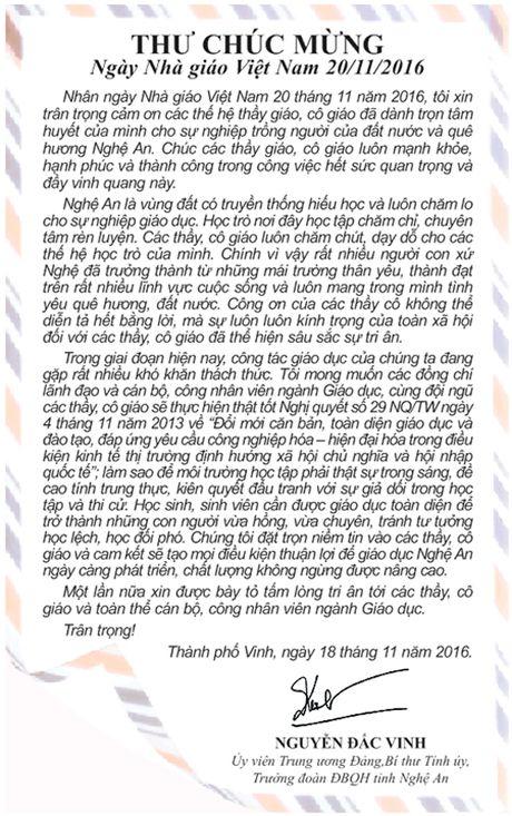 Bi thu Tinh uy gui thu chuc mung Ngay Nha giao Viet Nam 20/11 - Anh 1
