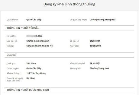 Huong dan lam giay khai sinh truc tuyen qua mang - Anh 6
