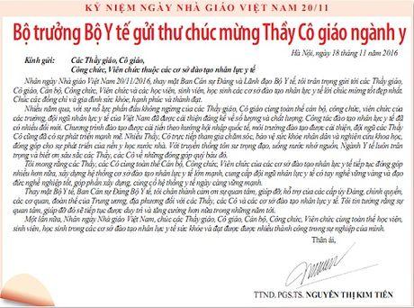 Bo truong Bo Y te gui thu chuc mung Thay Co giao nganh y - Anh 1