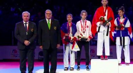 Vo si Kim Ngan doat huy chuong vang Taekwondo tre the gioi - Anh 1